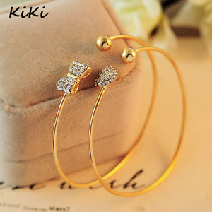 >>>Fashion Gold-Color Bowknot Crystal Bracelets Love Heart Cuff Bangles For Women Jewelry