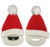 promotional high quality new design red knitted christmas santa beard hat with pom pom