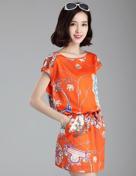 bcecf74efab8 New model summer Korean design printed dresses, fashion chiffon short mini  women frock pictures