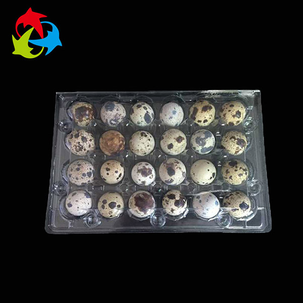 Factory custom high quality clear 24 cells disposable plastic blister packaging crate quail egg tray for sale