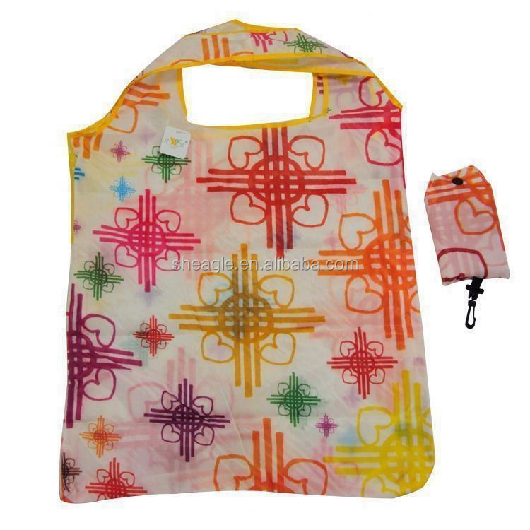 Customized cheap <strong>nylon</strong> foldable shopping bag with full color gas sublimation printing