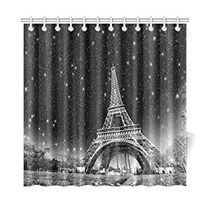 InterestPrint Romantic Night Eiffel Tower Home Decor, City Landmark Polyester Fabric Shower Curtain Bathroom Sets with Hooks 72 X 72 Inches