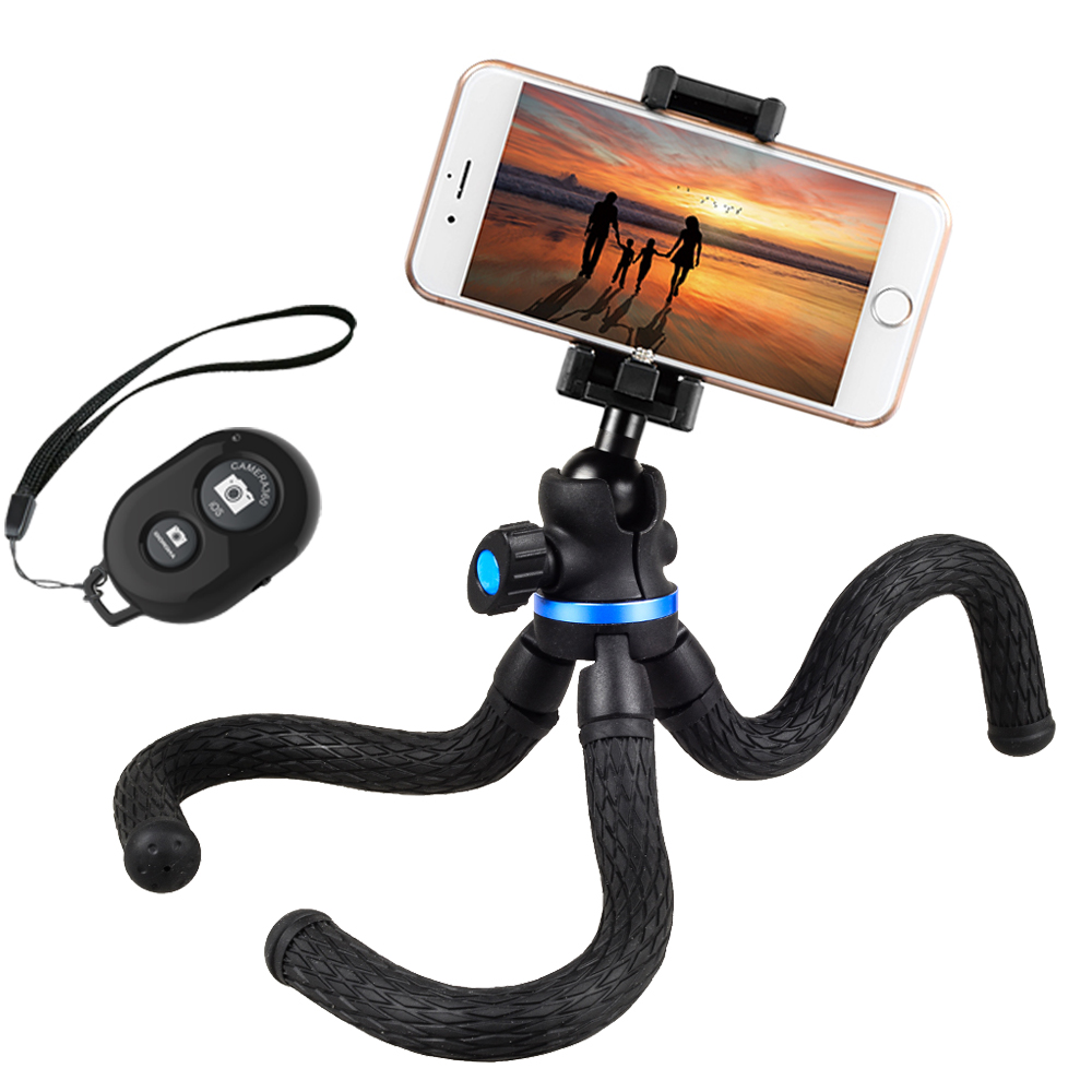 Apexel Blue Mini Flexible Cell Phone Tripod Octopus Camera Tripod With  Remote Control Mobile Phone - Buy Phone Tripod,Phone Tripod Bluetooth,Phone