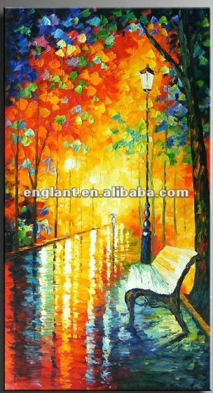 Charming impressionist painting canvas with night scenery