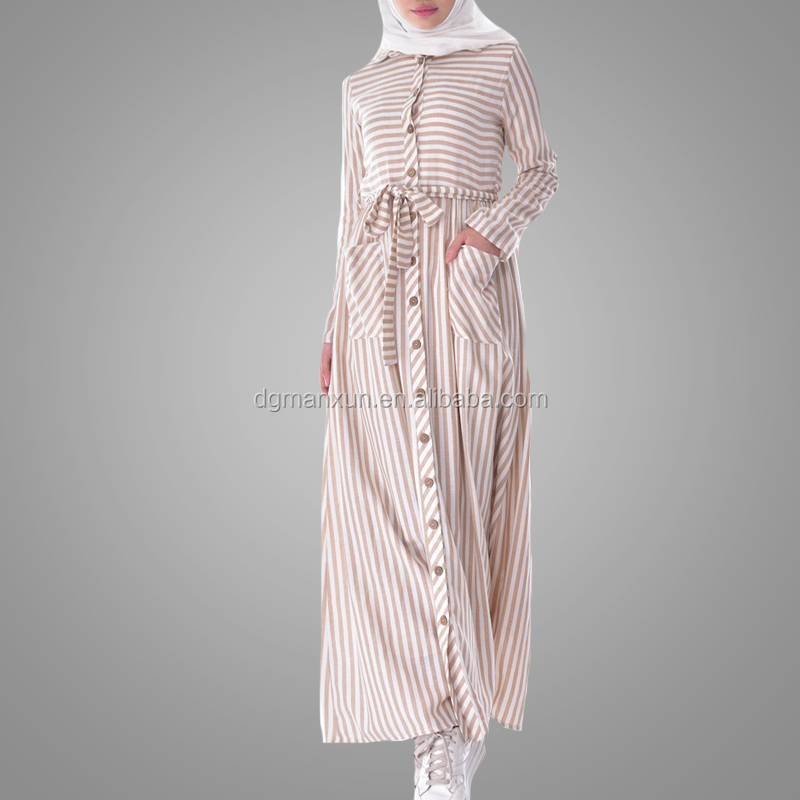 Good Quality Muslim Long Abaya New Customized Long Sleeve Islamic Clothing Casual Two Pockets Kaftan Dress Online