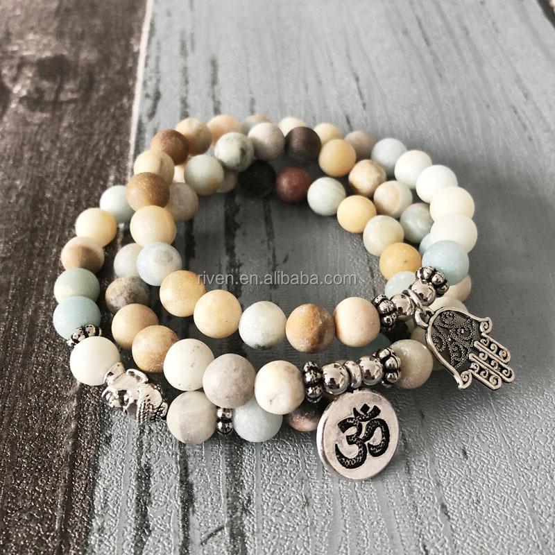 864b7d251b4592 Product Picture And Similar Designs SN0957 Amazonite Bracelet Sets Men  Stackable Matte Amazonite Beads Om Buddha Hamsa Hand Charm Bracelet Yoga