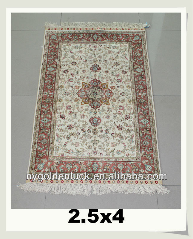 High Grade 260 Lines 2.5x4ft Handmade Artificial Pure Silk Decorative Rugs and Carpets