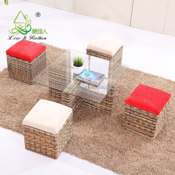2015 Stylish Multifunctional Storage Wooden And Glass Coffee Table And  Stools