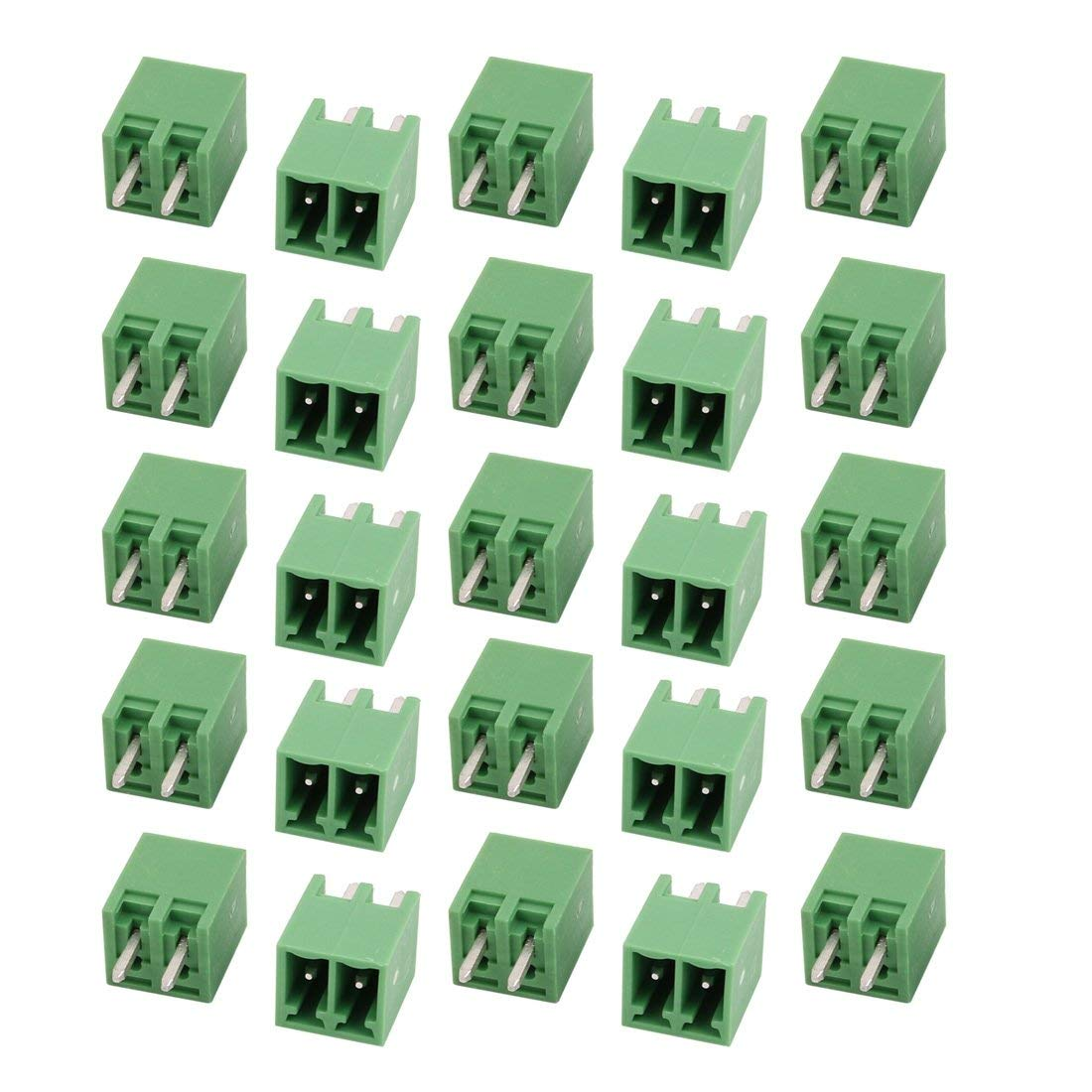 uxcell 25Pcs AC 300V 8A 3.5mm Pitch 2P Terminal Block Wire Connection for PCB Mounting