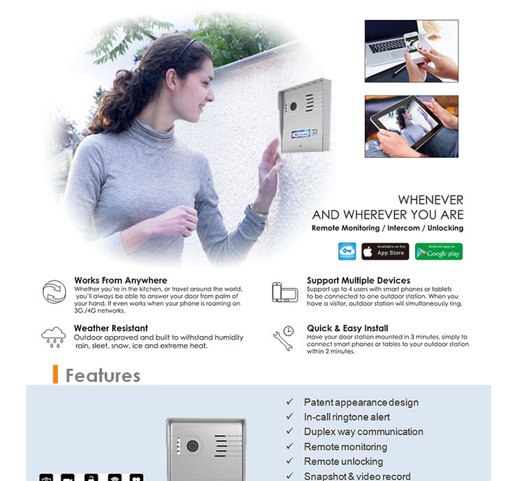 Android IOS remotely unlock ip wireless wifi video door phone video doorbell wifi access control