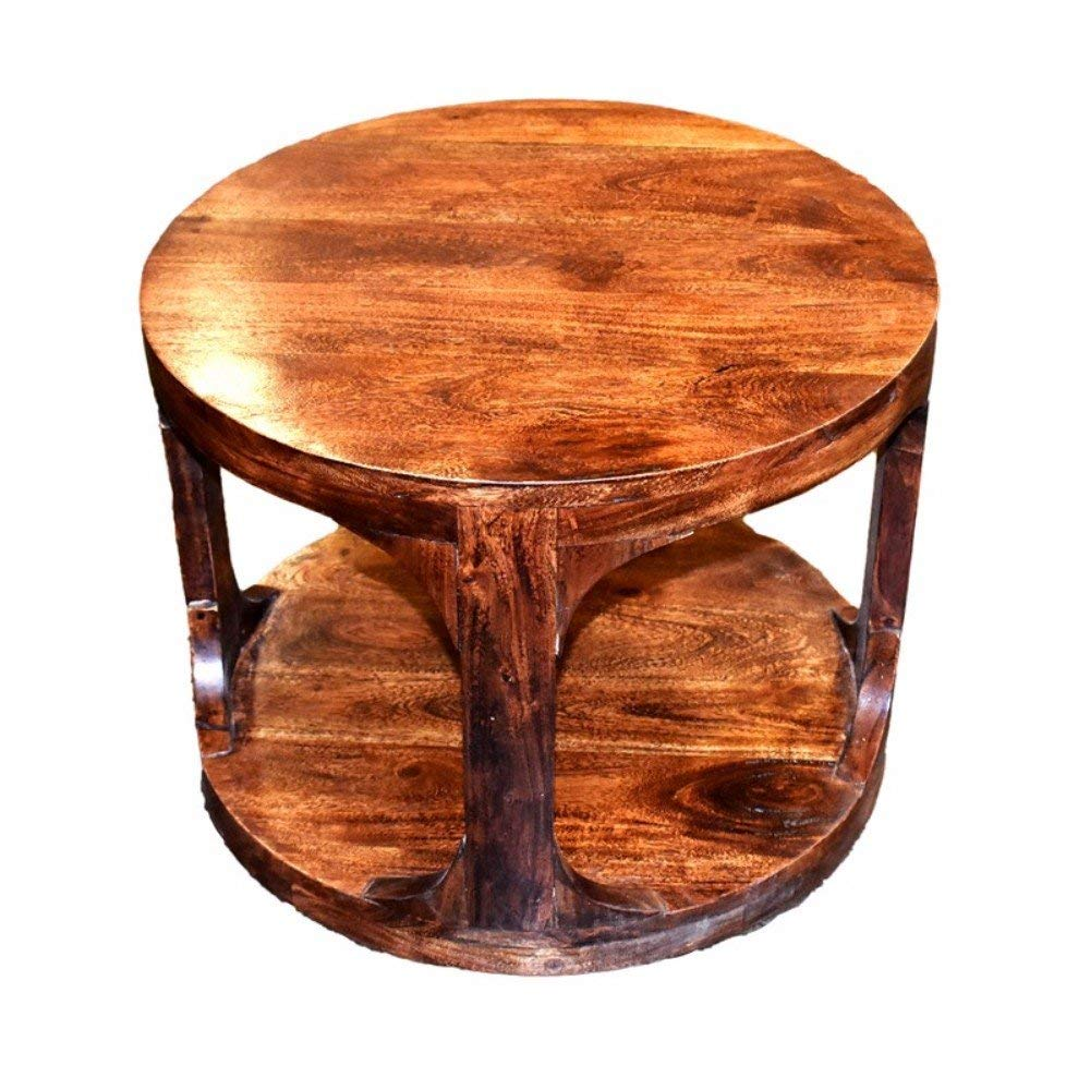 Benzara Contemporary Style Round Wooden Side Table End, One, Brown