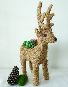 Christmas Succulent Planters.Customized Handmade Coco Fiber Reindeer Animal Shaped Flower Succulent Planters Christmas Decorative View Planter Hiyi Product Details From Beihai