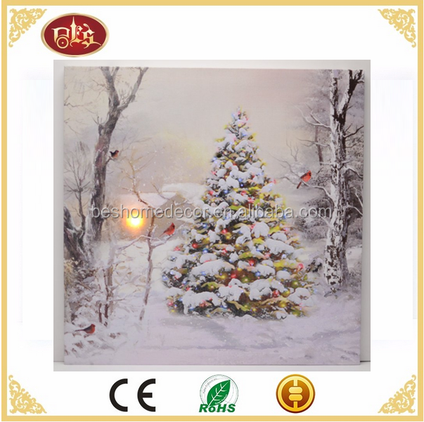 Winter scene Christmas tree cardinal Lighted Christmas canvas Led canvas pictures