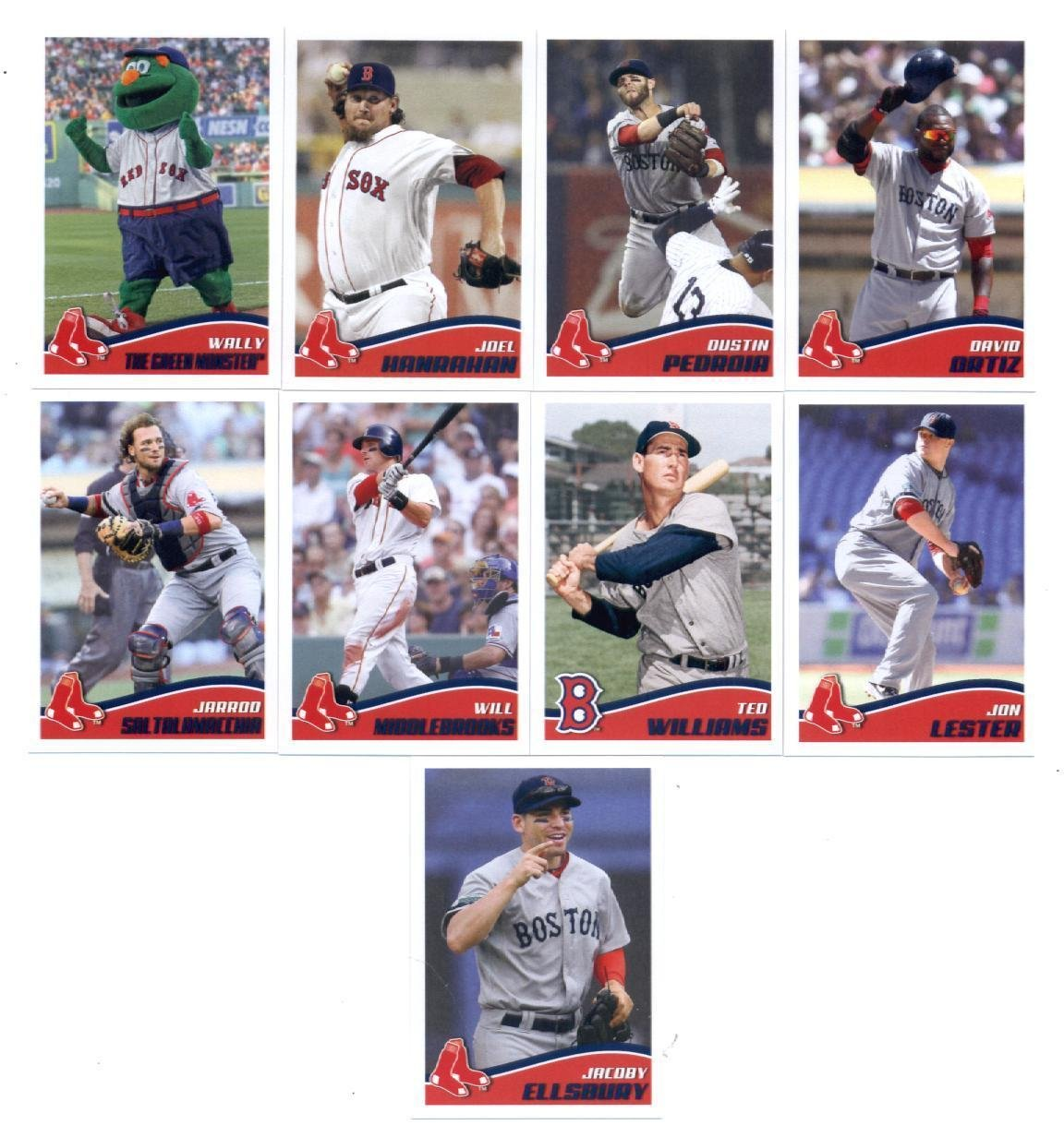 2013 Boston Red Sox Topps Opening Day Baseball MLB Stickers Complete Mint 9 Basic Card Team Set; It Was Never Issued in Factory Form. Cards Included Are #17 Joel Hanrahan, #16 Dustin Pedroia, #15 David Ortiz, #14 Jarrod Saltalamacchia, #13 Will Middlebrooks, #11 Jon Lester, #10 Jacoby Ellsbury, #12