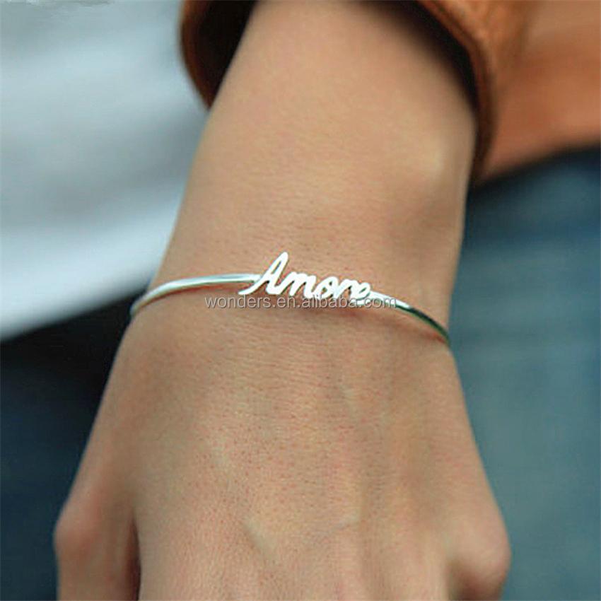 6104a7375527 Personalizada nombre brazalete pulsera de la joyería al por mayor proveedor  de China