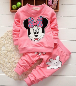 2019 New Minnie Baby Girls Clothing Sets Cotton Kids Clothes Sets Long Sleeve Shirt + Pants Suit Girls Minnie Clothing Sets