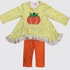 Bulk wholesale long sleeve pumpkin embroidery fall and winter clothes kids ruffle halloween clothing