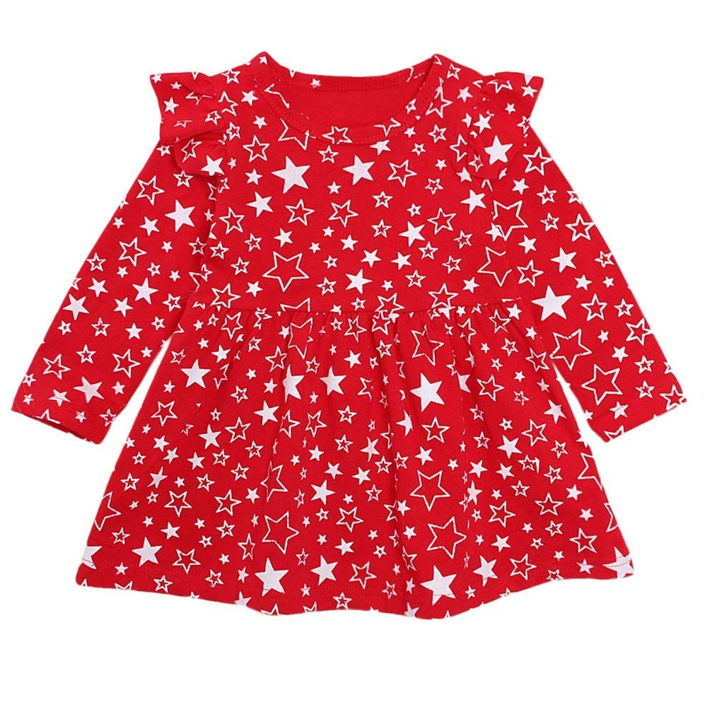Toddler Girl Dress, Baby Long Sleeve Star Print Princess Dress Outfits Clothes (Red, Recommended Age:12Months/Label Size:80)