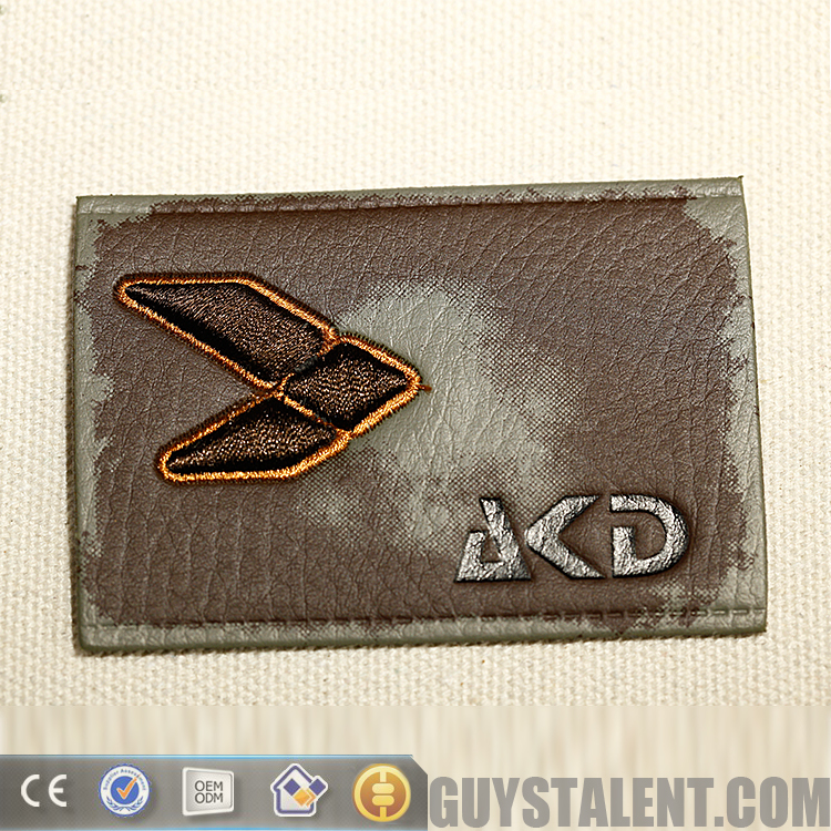 Custom hot stamping leather patch label for jeans