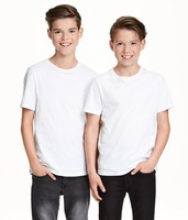 kids round neck t-shirt plain white t shirt for boys