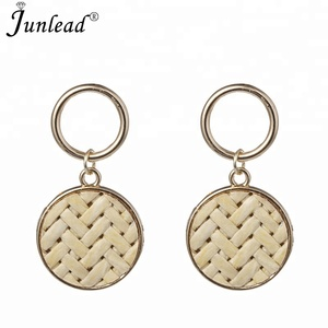 Junlead Latest Handmade Straw Weave Rattan Summer Earring Metal Round Vine Braid Simple Vintage Drop Earrings For Women Jewelry