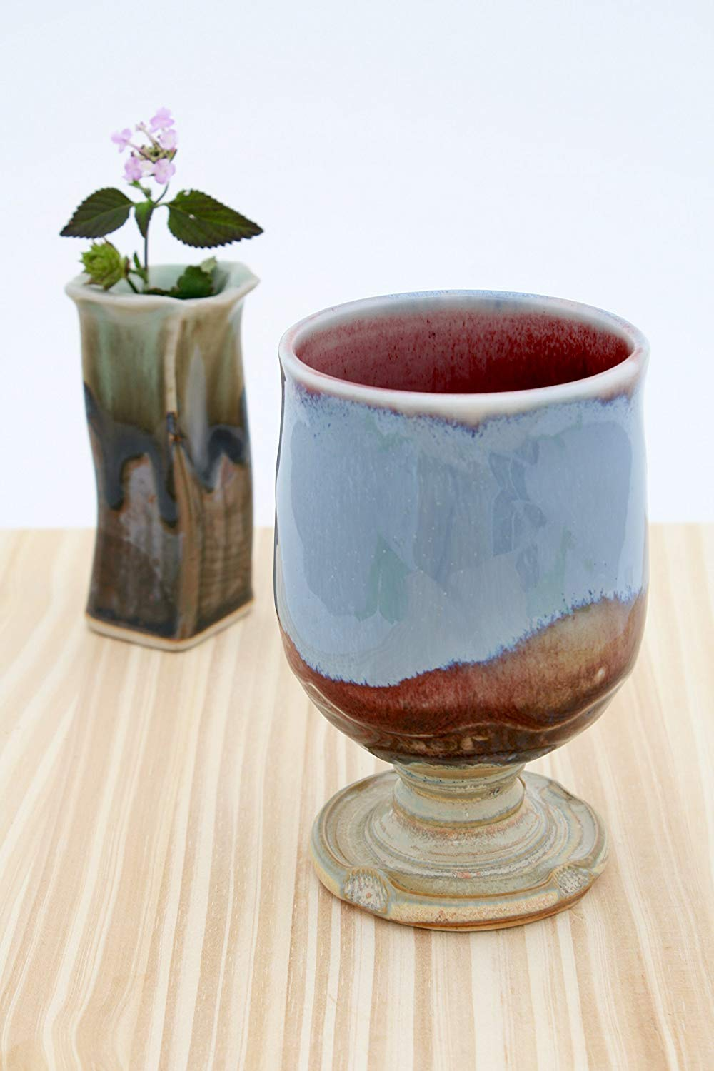Hand Crafted Red to Crystal Blue Wine Glasses #20, Ceramic Wine Glasses, Ceramic Wine Chalices, Handmade Wine Goblets