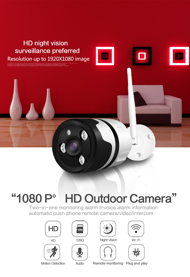 2MP CCTV Security Infrared Night Vision Wireless IP Camera Waterproof