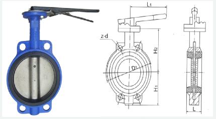 Wafer Type Gear Operated Price Butterfly Valve Drawing