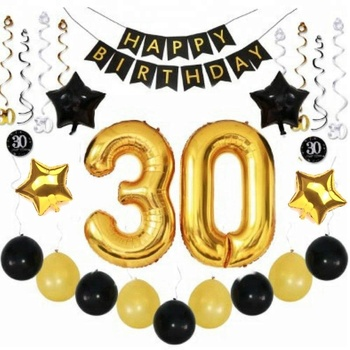 EasternHope 30th BIRTHDAY PARTY DECORATIONS KIT With HAPPY BANNER BALLOONS SPARKLING HANGING SWIRLS Party Supplies
