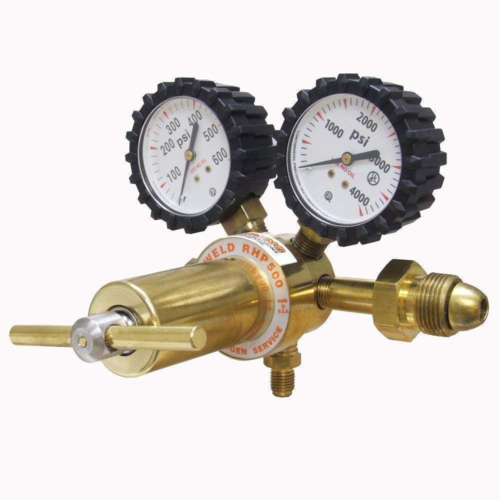 Uniweld RHP500 Nitrogen Regulator with 0-500 PSI Delivery Pressure, CGA580 Inlet Connection and 1/4-Inch Male Flare Outlet Connection