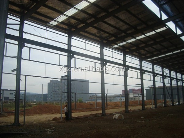 prefabricated colour cladding steel structure auto workshop design