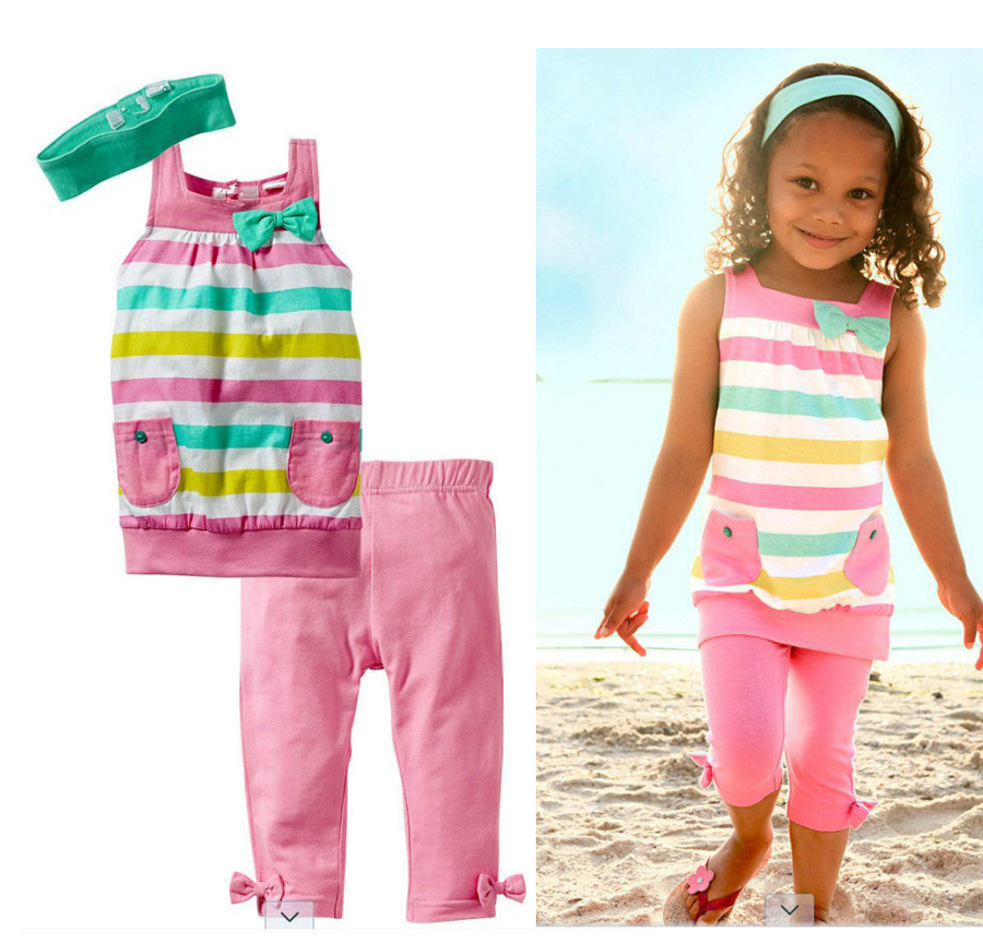 NEW 2016 cotton casual children girls summer clothing set toddler suits tank with pants and headband
