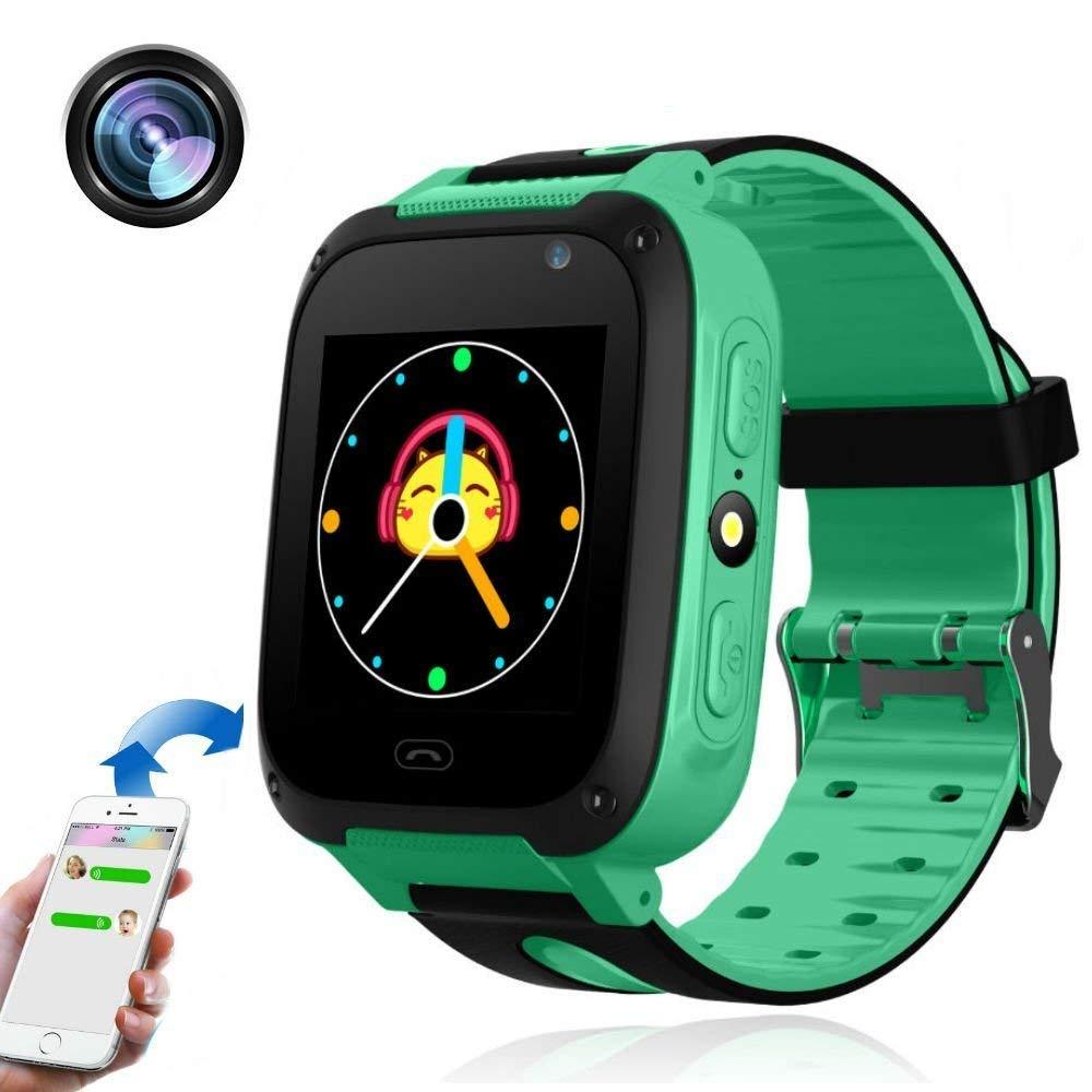 KEBIDU Kids Tracker Watch Waterproof, GPS Tracker Kids Smart Watch, Gps Bracelet for Kids Tracking with Camera Flashlight Function Touch Screen Anti-lost SOS Camera Smart Watch Bracelet (Green)