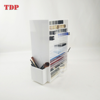 Factory White Retail Countertop Acrylic Cosmetics Makeup Holder Makeup Organizer Display Stand