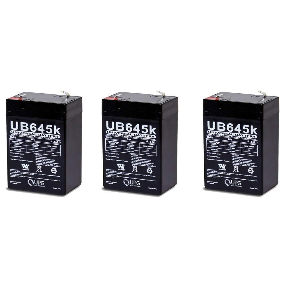 Universal Power Group 6V 4.5AH SLA Battery Replaces WP4-6 WP4.5-6 WP4.5-6WL UB645-3 Pack