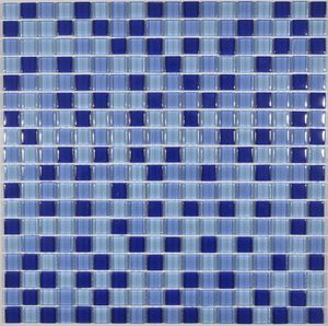 2018 new arrival goldline mixed blue colors swimming pool glass mosaic tile