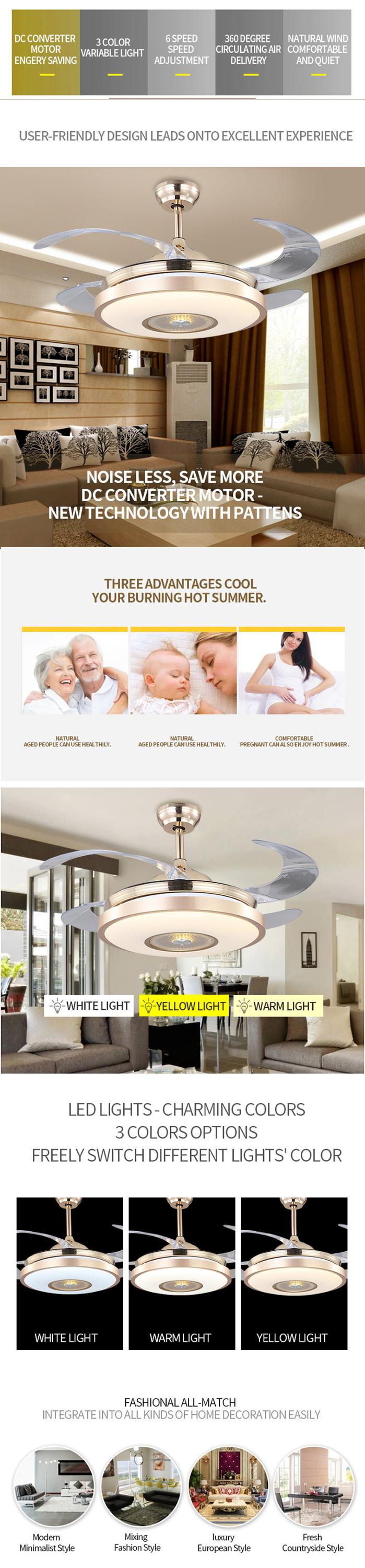 Factory price high quality modern design hidden blades ceiling fans