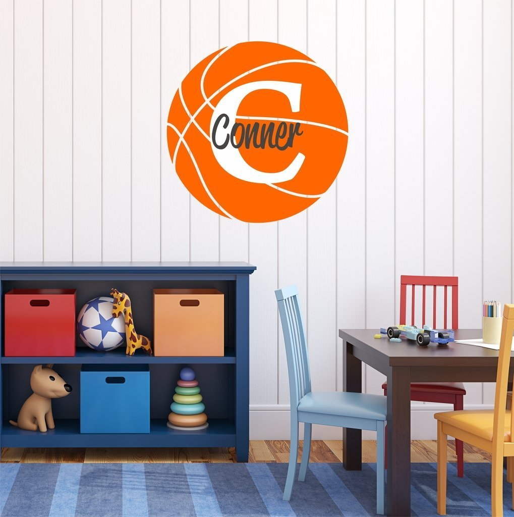 "Nursery Wall Decals Basketball Name and Initial Personalized Name Wall Decal 14"" by 14"", Boys or Girls Nursery Sports Decals, Basketball Wall Decals, Sports Wall Stickers, PLUS FREE HELLO DOOR DECAL"