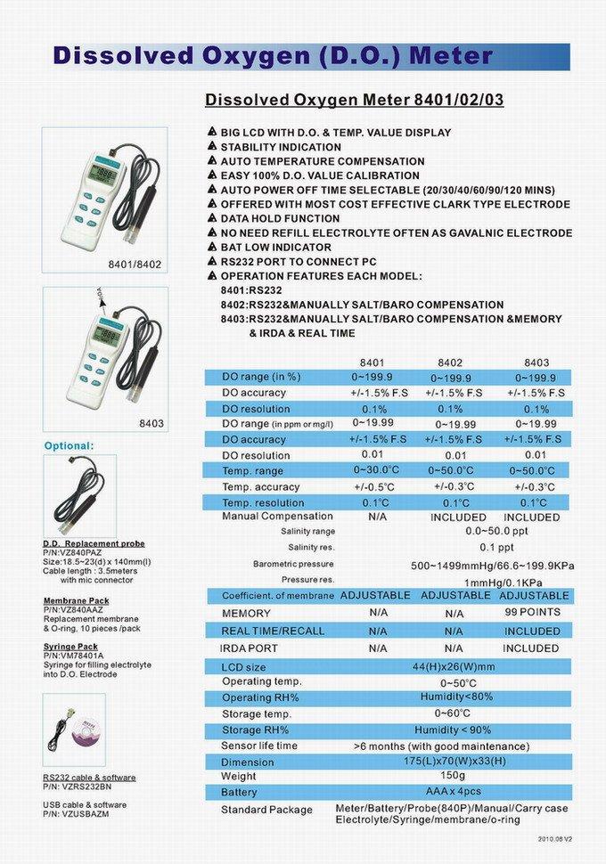 Taiwan AZ AZ8402 Portable Dissolved Oxygen Meter Dissolved Oxygen Meter Water Aquaculture Tester