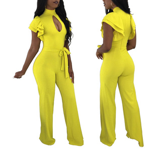 Plus Size Long Trousers One Piece Spandex Jumpsuit For Women