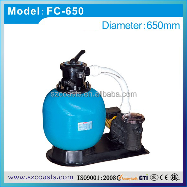 1.5hp pump&650mm sand filter combination, CU 16.5 CBM/H for pool volume 17CBM