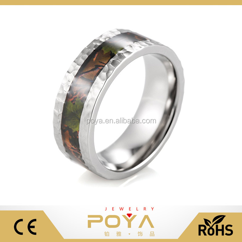 POYA Jewelry Men's 8mm Hammered Tungsten Forest Tree Pink Oak Wild Hunting Camo Inlay Ring