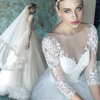 ZM 16107 Cheap price wedding dresses clearance Deep v neck see-through sweetheart 3/4 long sleeve bridal gown
