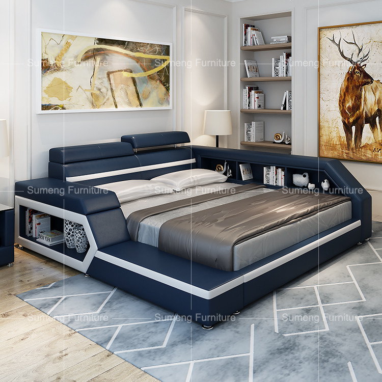 italien vente chaude moderne de luxe en cuir lit avec rangement buy italien en cuir lit lit en. Black Bedroom Furniture Sets. Home Design Ideas