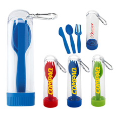 Promotional giveaway brand logo personal care lunch tableware portable cheap pizza fork jag saw cutter simple cutlery with case