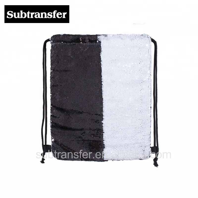 Sublimação personalizado lantejoulas saco de cordão saco mochila preta e  branca 061015e2737f5