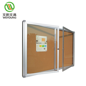 Indoor Announcement Aluminum Frame Fabric Back Lockable Notice Bulletin Board