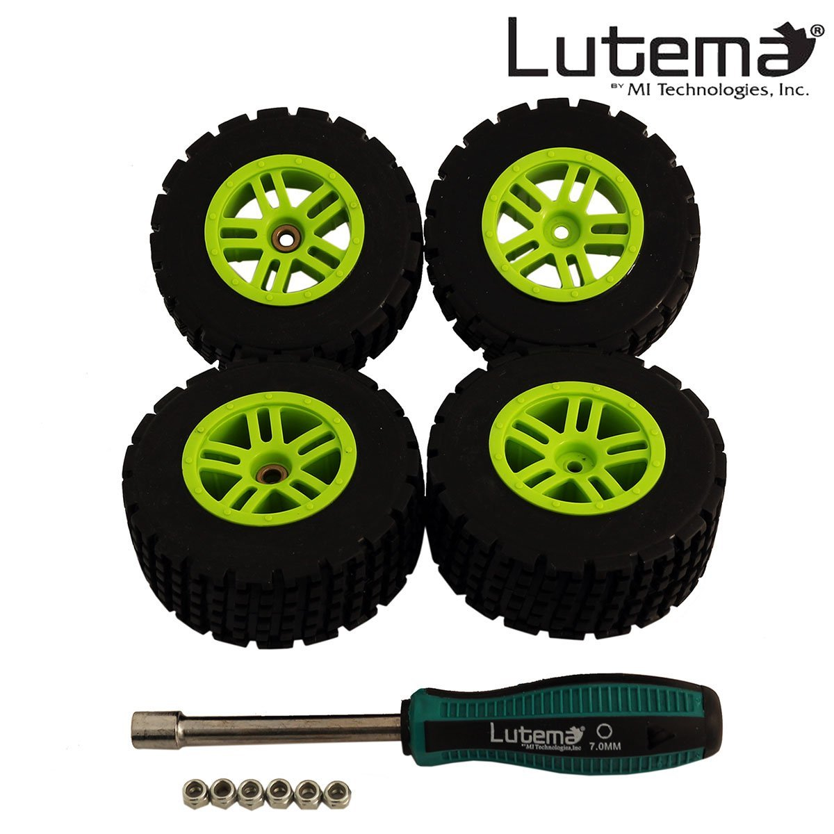 Lutema Hyp-R-Baja 2.4Ghz Baja King Complete Set of Color Wheels With Tires - Green