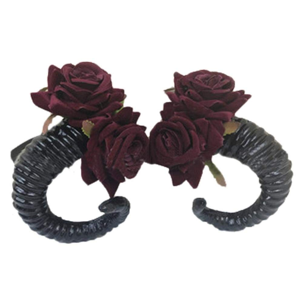 Get Quotations · Demon Sheep Horn Rose Flower Headband Gothic Kawaii Beauty  Horror Halloween Party Cosplay Retro Hair Accessories 6e2ccb8821ab