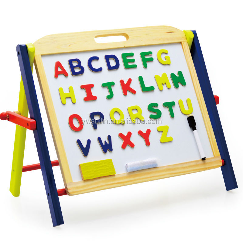 Wooden Mini Easel Kids White Board Toy Collapsible Chalkboard With Magnetic Letters